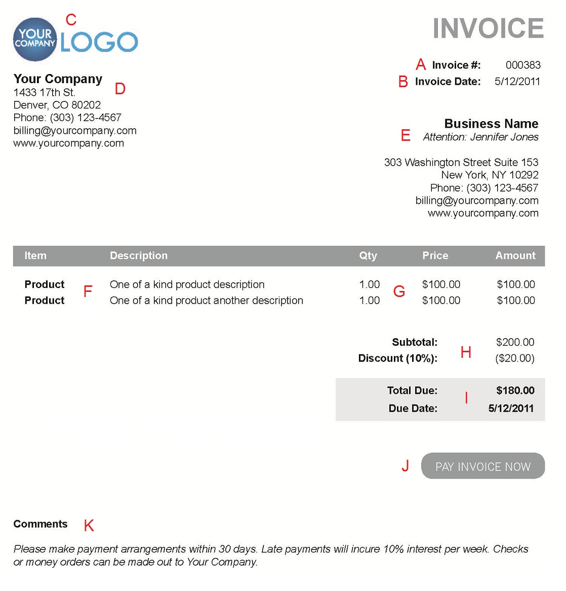 The Different Sections Of An Electronic Payment Invoice - Free customer invoice