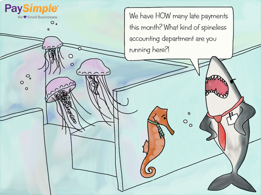 Jellyfish cartoon about late payments and being spineless