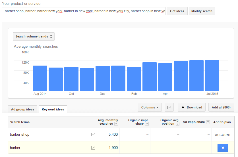 With the keyword planner tool you can view the search volume for your keyword selection by month