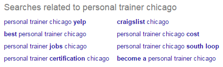 Related searches for 'personal trainer chicago' in the Google SERPs