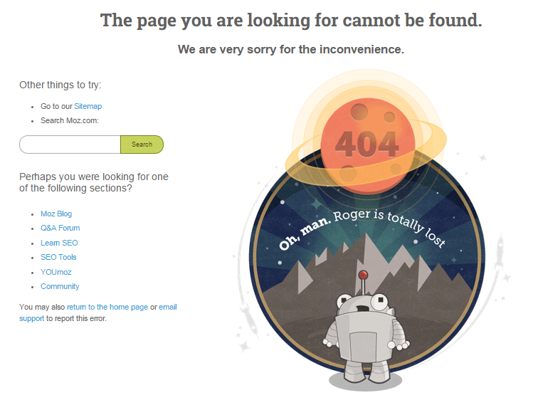 Sample 404 page from Moz