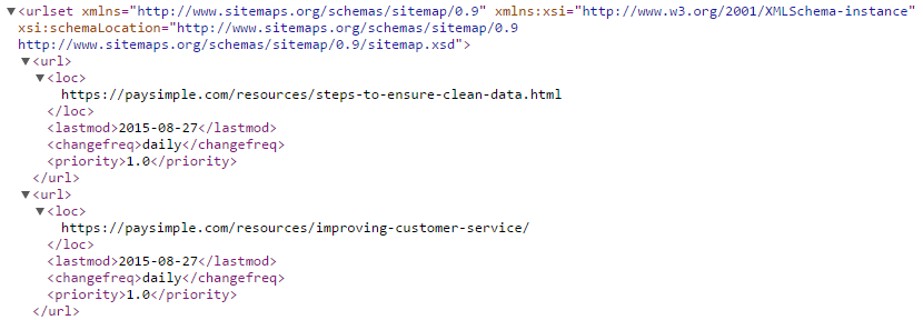 Sample of a sitemap.xml file