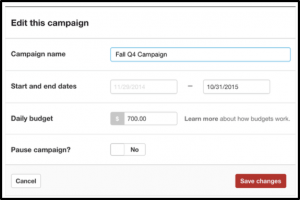 This is where you'll enter your campaign details, like name, run dates, and daily budget. Image credit: Pinterest.